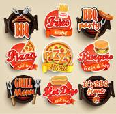Fast food and BBQ Grill elements Typographical Design Label or Sticer - burgers pizza hot dog fries - Design Template Vector illustration