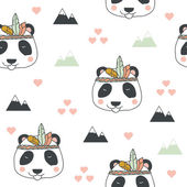 Beautiful indian seamless pattern of panda bear with feathers in vector for childrens  Cute cartoon background in bright colors
