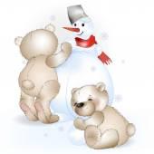 Zwei Bären machen einen Schneemann