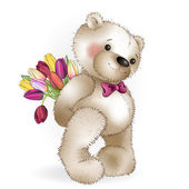 Smiling Bear with a bouquet  The white background