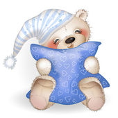 Happy Teddy Bear hugging a pillow The white background Vector illustration
