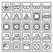 Mosoda ellátás szimbólumok. Textil ellátás ikonok gyűjteménye. Mosás, ellátás jelei