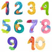There are numbers from one to ten in fairy style like different birds Bright and colorful gradient illustration