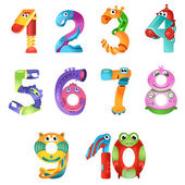 There are numbers from one to ten in fairy style like different robots Bright and colorful gradient illustration
