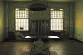 Alcatraz Island: a stretcher in the infirmary of the former federal prison