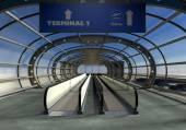 3D přistání letadla a letištní terminál