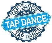 Tap dance blue round grunge stamp on white