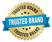 Trusted brand 3d gold badge with blue ribbon