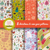 8 stylish holiday seamless patterns New year and Christmas backgrounds set in vector