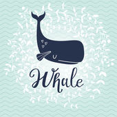 Card with cute cartoon whale. watercolor illustration, sea life concept