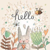 Stunning card with cute Rabbit butterfly and bee in summer flowers Awesome background made in watercolor technique Bright easter concept card