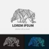 Creative stylized icon bear Vector idea ferocious beast Triangle shape with lines