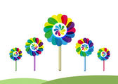 Illustration of Flowers or Rotating Toys called Pinwheels concept