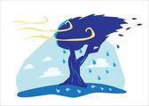 Strong Wind Blows Tree cartoon
