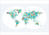 Abstract World Map made of colorful stylized Triangles vector