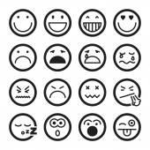 Smiley lapos ikonok. Fekete