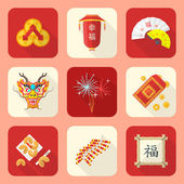 Vector colored flat style traditional chinese new year icons set feng shui coins lantern fans dragon mask fireworks firecrackers bamboo frame fortune cookies red envelope coin