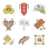 Vector colored outline traditional chinese new year icons set feng shui coins lantern fans dragon mask fireworks firecrackers bamboo frame fortune cookies red envelope coin