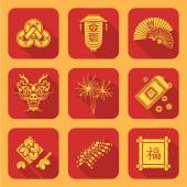 Vector yellow flat style traditional chinese new year icons set feng shui coins lantern fans dragon mask fireworks firecrackers bamboo frame fortune cookies red envelope coin