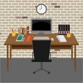 Vektor Office room.interior,books, pracovní stůl, hodiny, počítač, papír