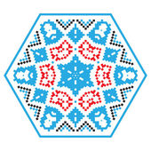 Ethnic ornament mandala pattern in different colors on white background Vector illustration From collection of Balto-Slavic ornaments