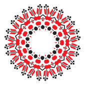 Ethnic ornament mandala geometric patterns in red and black colors on white background Vector illustration From collection of Balto-Slavic ornaments