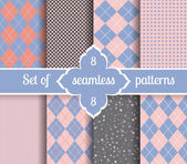 Set rose quartz and serenity geometric Patterns  2016 colors of the year Vector illustrations