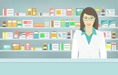 Lapos stílusú fiatal gyógyszerész gyógyszertár ellenkező polcok, gyógyszerek