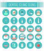 Fogászati klinika szolgáltatások lapos ikonok