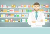 Flache junge Apotheker in Apotheke gegenüberliegende Regale Arzneimittel