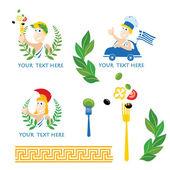 Vector set of Greek cuisine labels