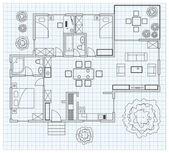 Náčrt půdorysu domu