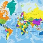 Постер, плакат: Colorful World political map