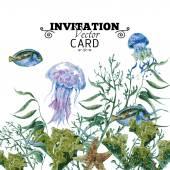Summer Vintage Watercolor Sea Life Greeting Card