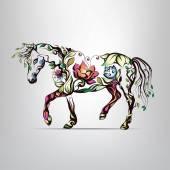 Sagoma di cavallo dellornamento floreale