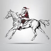 Santa Claus riding on a horse Vector illustration
