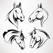 A set of horses heads Vector illustration