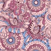 Rose Quartz and Serenity trendy colors of the year 2016 in the seamless pattern Zentangle or doodle style ornament with mandalas and floral elements For fabric textile or print design