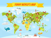 Funny cartoon world map with people of various nationalities and animals Vector illustration for preschool education and kids design