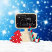 Wooden  sign and Christmas gifts