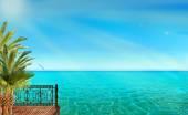 Trópusi táj, a kék tenger, pálmafákkal és napsütés