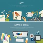 Uměleckého vzdělávání a grafický design web banner plochý design
