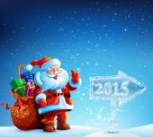 Santa Claus with gifts goes to Merry Christmas
