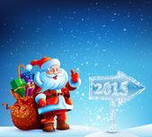 Santa Claus s dárky jde do veselé Vánoce