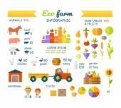 Ekofarma Infographic prvky vektoru plochý Design