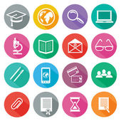 Set of 16 round icons of professional training online education e learning knowledge with long shadow on white background