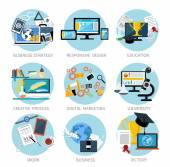 Icons set banners for business strategy responsive design education creative process digital marketing university victory in flat design