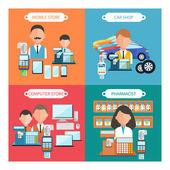 Autó, mobil, gyógyszerész és számítógép áruház