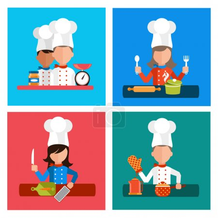 Постер, плакат: Cooking serve meals and food preparation elements, холст на подрамнике