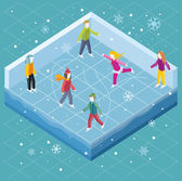 Ice rink with people isometric style Ice skating sport winter skate and skating cold season outdoor activity lifestyle motion skater exercise speed active recreation illustration